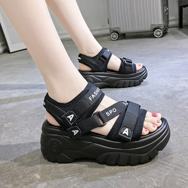 Binhbet 6CM High Platform Women's Sandals 2019 Fashion Summer Women Beach Peep-toe Wedges Sandal Rome Casual Thick Soled Woman Shoes