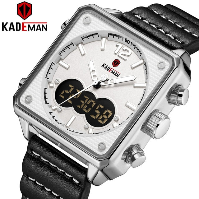 Luxury Square Watch Men Original Sport Watch TOP Brand KADEMAN Dual Display 3ATM Tech Wristwatches New Leather Casual Male