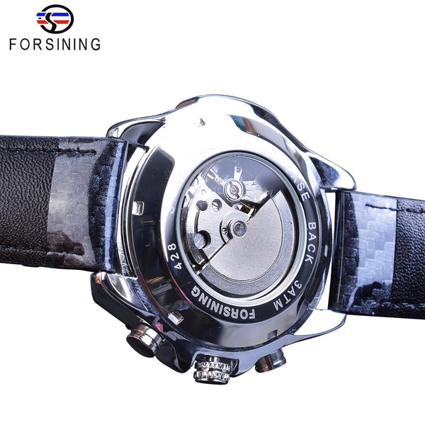 Forsining Brand Men Sport Mechanical Wristwatches Automatic White Big 3 Sub Dial Date Military Genuine Polish Leather Wristwatch Gift