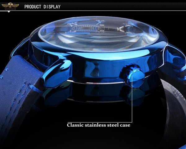 Forsining Full Blue Wristwatches Men Skeleton Mechanical Wristwatch Hand Wind Genuine Leather Strap