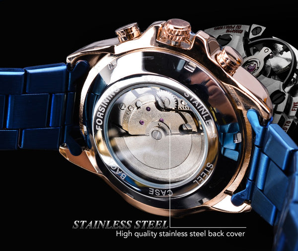 Forsining Men Blue Mechanical Wrist Wristwatches Automatic Multifunction Date Military Sport Stainless Steel Strap