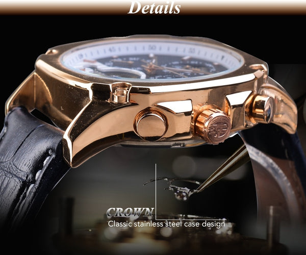 Forsining Luxury Golden Mechanical Mens Wristwatches Square Automatic Moonphase