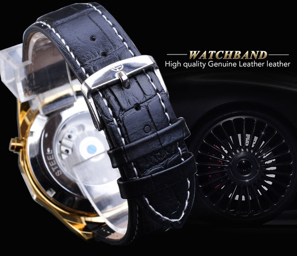 Forsining Fashion Mechanical Wristwatch Top Brand Automatic Mens Wristwatch Calendar Luminous Black Leather Strap