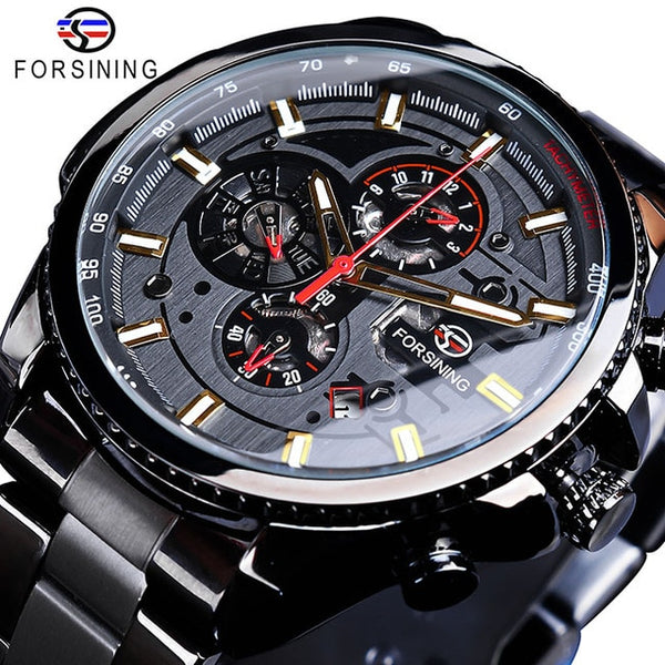 Forsining Business Mens Watches Top Brand Multicolor Man Blue Stainless Steel