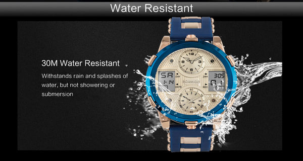 BOAMIGOMen Wristwatches Top Brand Luxury  3 time zone male Waterproof Wristwatches Sport Chronograph Quartz Wrist Wristwatch