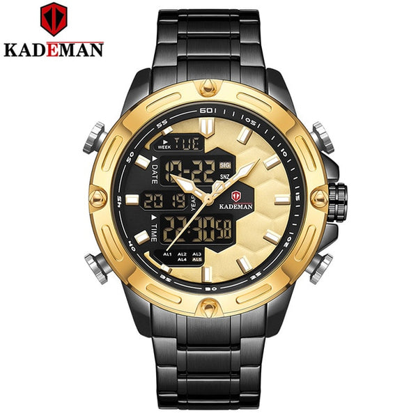 New Soccer Inspire Sport Watch Luxury Men Fashion Full Steel Wristwatches TOP Brand KADEMAN Dual Movement LED Male Watch Relogio