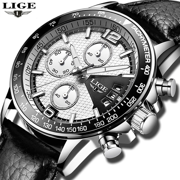 LIGE Mens Wristwatches Top Brand Luxury Men's Military Waterproof Sports Wristwatch Men's Leather Date Quartz