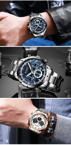 New CURREN Top Brand Luxury Fashion Mens Watches Stainless Steel Chronograph Quartz Watch Men Sport Male  Relogio Masculino