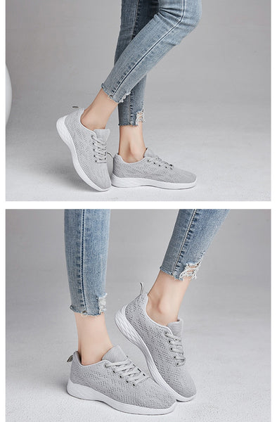 PINSEN New Fashion Sneakers Women Breathable Mesh Casual Shoes Woman Lace-up Basket Femme Outdoor Walking Flats Ladies Shoes