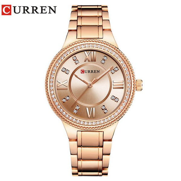CURREN  Top Luxury Brand  Women Quartz Wristwatch Crystal Design Ladies wristwatches relogio feminino girlfriend gift time