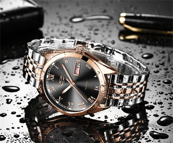 LIGE New Rose Gold Women Wristwatch Business Quartz Wristwatch Ladies Top Brand Luxury Female Wrist Wristwatch Girl