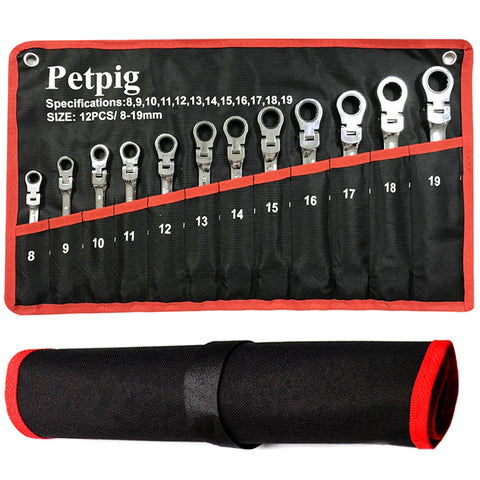 Petpig Ratchet Wrench Tool Set 5/7/12PCS Set of Combination Tool 72-tooth Combination Universal Wrench Ratchet Double Head Key Spanners