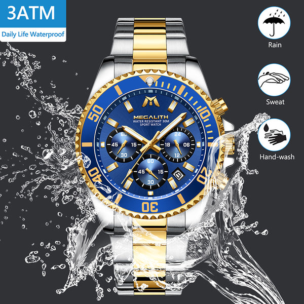 MEGALITH Luxury Brand Watch Men Analog Steel Sports Watches Men's Business Watch Male Date Quartz