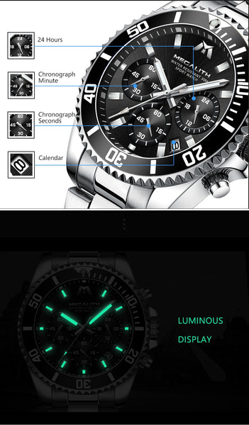 MEGALITH Casual Watches for Men Black Top Brand Luxury Sport Military Steel Wrist Watch Man  Fashion Chronograph Wristwatch