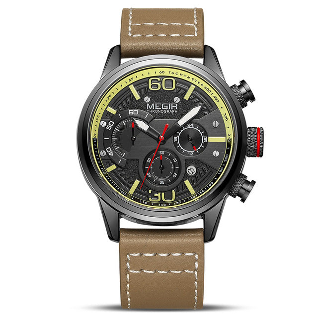 Top Luxury Brand MEGIR New Fashion Mens Watches with Leather Strap  Sport Chronograph Quartz Watch Men Relogio Masculino