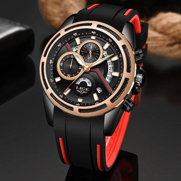 LIGE NEW Men Watches Top Brand Luxury Black Male Watch Fashion Leather Strap Casual sport Wristwatch With Big Dial Drop Shipping