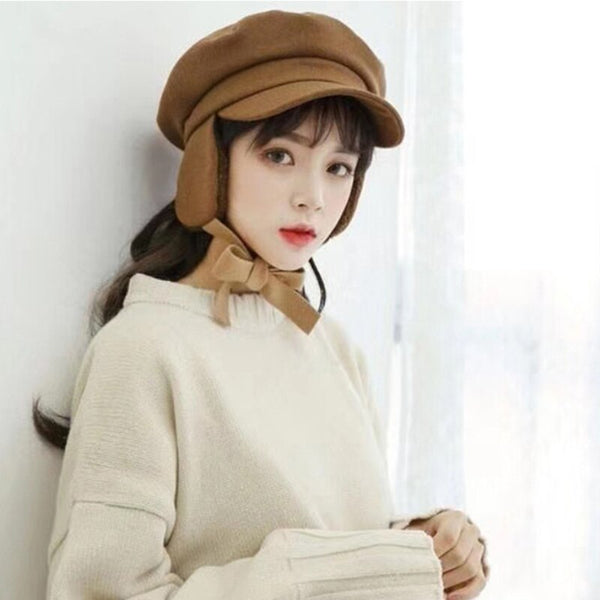 Aerlxemrbrae Vintage Style Flat Top Newsboy Cap Ladies Russian Winter Hat Women Solid Sailor Captain Cap Female Beret Hat Retro Earflap Cap