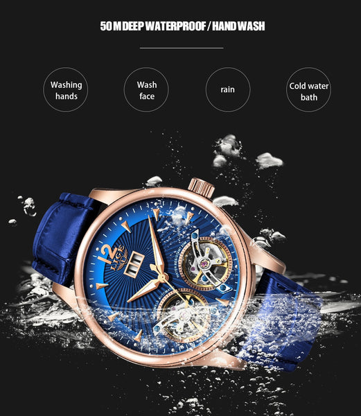 Watch Men 2020 LIGE New Dual Tourbillon Leather Mens Watches Top Brand Luxury Automatic Mechanical  Male Sport Wirstwatch