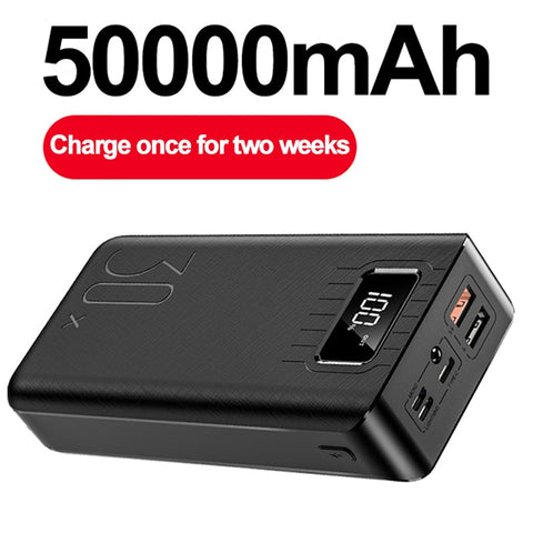 XDOU 50000mAh Power Bank TypeC Micro USB QC Fast Charging Powerbank LED Display Portable External Battery Charger