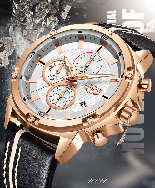 2020 LIGE New Mens Watches Top Brand Luxury Big Dial Military Quartz Watch Leather Waterproof Sport Wrist watch Men Reloj Hombre