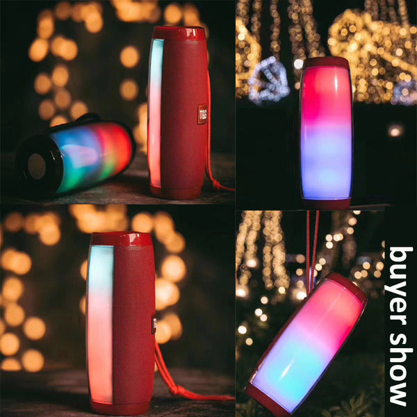 NDJU Portable Speaker Bluetooth Column Wireless Bluetooth Speaker Powerful High BoomBox Outdoor Bass HIFI TF FM Radio with LED Light
