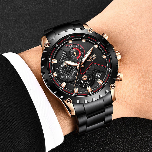LIGE New Men Watches Top Luxury Brand Fashion Sport Waterproof Chronograph Male Stainless Steel Wristwatch Men Relogio Masculino