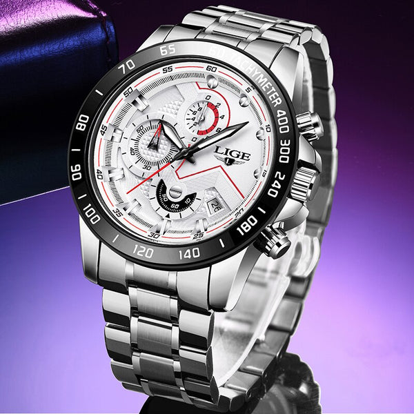 Mens Watches LIGE New Fashion Stainless Steel Top Brand Luxury Multi-function Chronograph Quartz Wristwatch Relogio Masculino