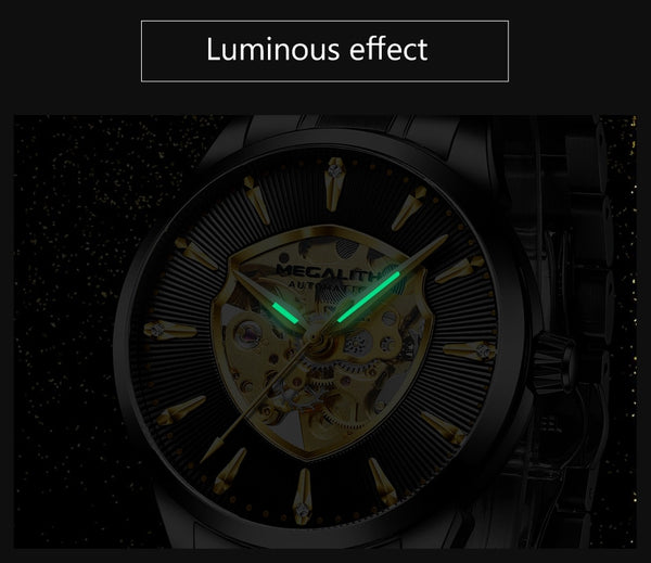 MEGALITH Steel Watch Men Automatic Mechanical Watch Luxury Fashion Waterproof Luminous Sport Watches Mens Relogio Masculino 2020