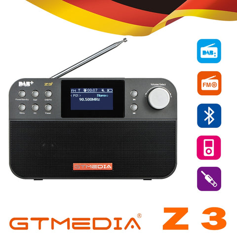 GTmedia Z3B DAB Radio FM Radio Digital Radio Bluetooth Speaker USB Rechargeable Battery Powered W/ Dual Speakers TFT-LCD Screen