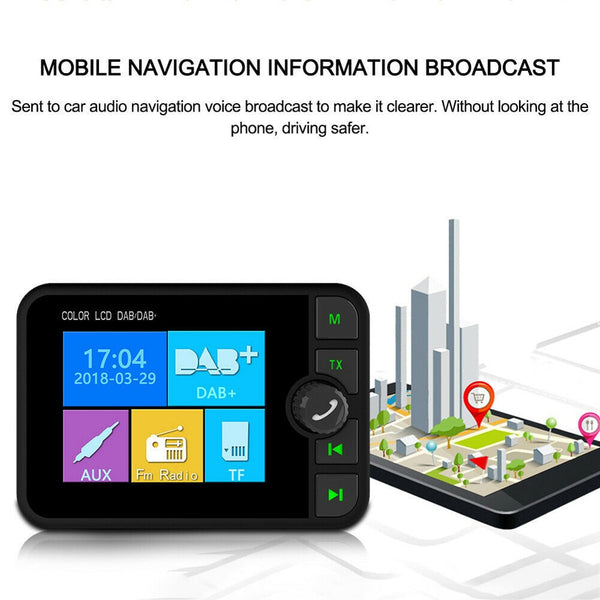 "Asdomo 2.4"" DAB+ BT Digital FM MP3 Adapter Magnetic Color Screen Car Radio Transmitter Protable Car DAB Radio"