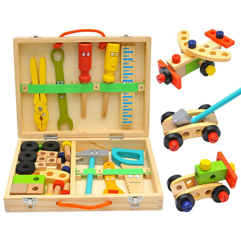 Kids DIY Tool Set Kit Educational Toys Simulation Repair Tools Toys  Wooden Game Learning Engineering Puzzle Toys Gifts For Boy