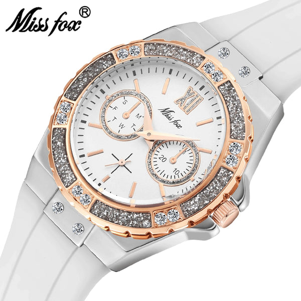 MISSFOX Watches Women Geneva Fashion Ladies Watch Luxury Diamond White Rubber Band Female Quartz Wristwatch Xfcs 2020 The New