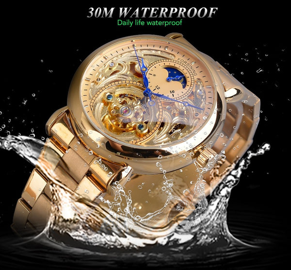 Forsining Automatic Mechanical Business Watch Mens Golden Moon Phase Steel Strap Wrist Watches Top Brand Relogio Masculino