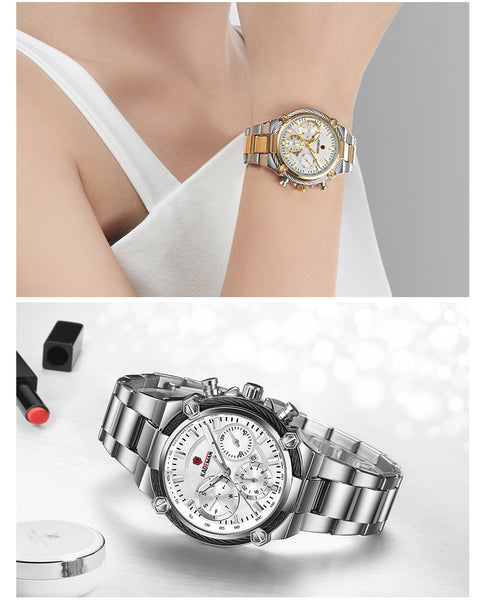 KADEMAN Luxury Women Watches Classic Design Steel Strap Date Quartz Ladies Watch Female Wristwatch Girl