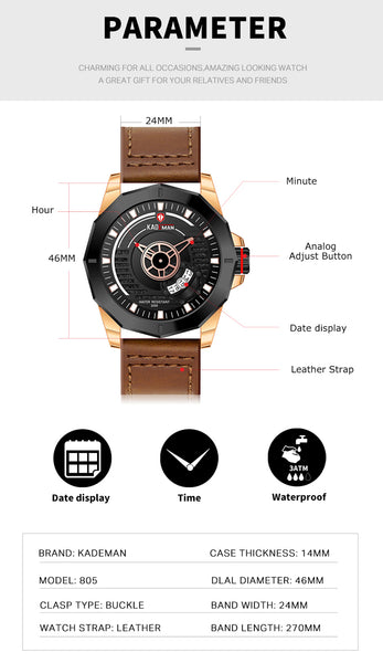 2019 Sports Mens Watches TOP Brand KADEMAN Casual Leather Watch Automatic Date Military Wristwatch Luxury 3ATM Relogio Masculino