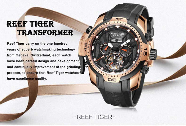 Reef Tiger/RT Sport Watch Complicated Dial with Year Month Perpetual Calendar Big Steel Case Watches RGA3532