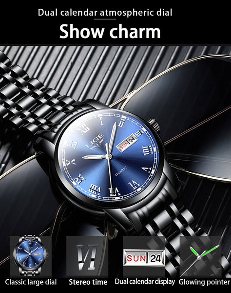 2020 New Watches Mens LIGE Top Brand Fashion Date Week Male Stainless Steel