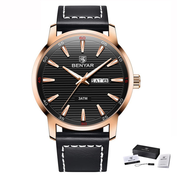 BENYAR New Men Watch Luxury Top Brand Automatic Week Date Military Fashion Male Quartz Leather Wristwatch Relogio Masculino 5145