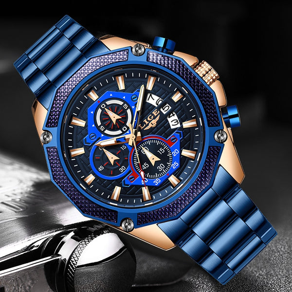 2020 New Fashion Mens Watches with Stainless Steel LIGE Top Brand Luxury Sports Chronograph Quartz Watch Men Relogio Masculino