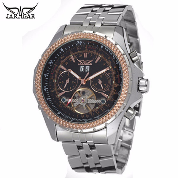 JARAGAR Watches Men Luxury Brand Auto Mechanical Watch 4 Hands Date/Day Tourbillon  Men's Wristwatch Relogio Masculino