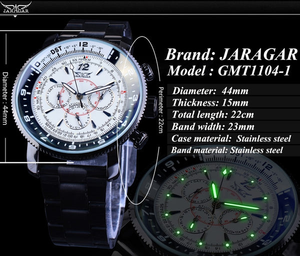 Jaragar Fashion White Men Watch 3 Sub-dials 6 Hands Calendar Multifunction Military Black Stainless Steel Band Male Wristwatches