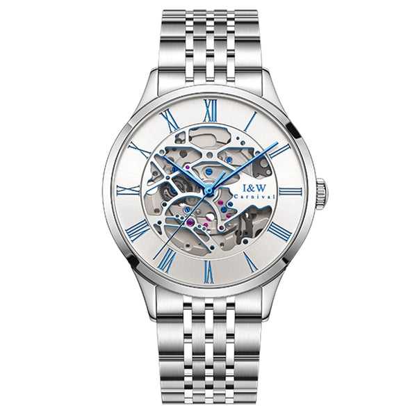 CARNIVAL Original Switzerland I&W Tourbillon Skeleton Watch Men Automatic Mechanical Watches Sapphire Waterproof Steel Relogio masculino