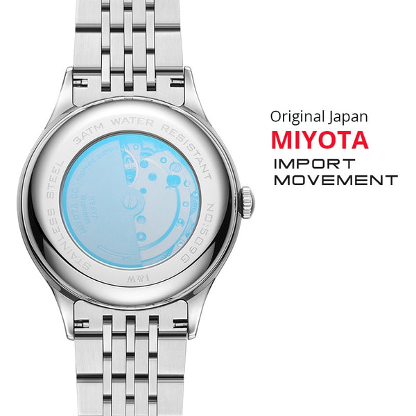 Fashion MIYOTA Watch Luxury brand I&W Automatic Watches Men self wind Sapphire Calendar Waterproof 316L Steel Mechanical Watch