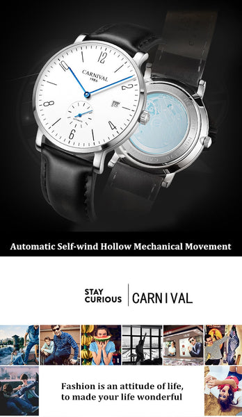 Relogio Masculino Carnival Brand Luxury Automatic Watch Men Ultra Thin Business Calendar Mechanical Wrist Watches Clock Man 2020