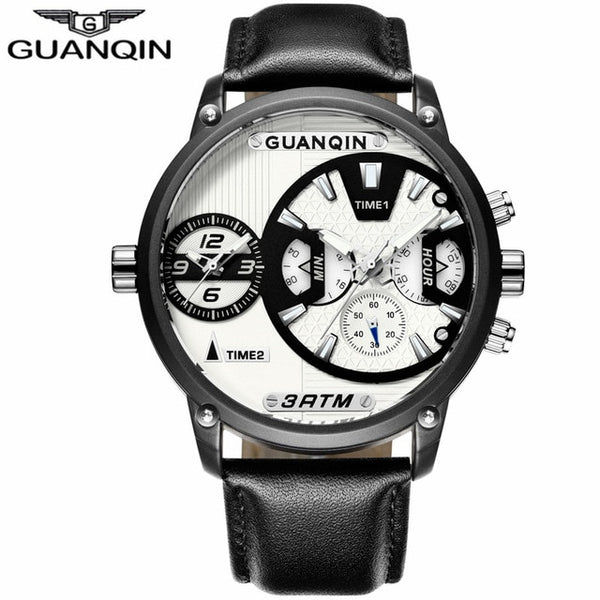 relogio masculino GUANQIN Luxury Mens Sport Multiple Time Zone Multifunction Quartz Watch Classic Men Retro Leather Wristwatch