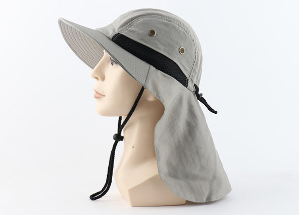 CAMOLAND Summer UPF50+ Sun Hats Women Mens Casual Boonie Hat With Neck Flap Outdoor Long Wide Brim Fishing Breathable Bucket Hat