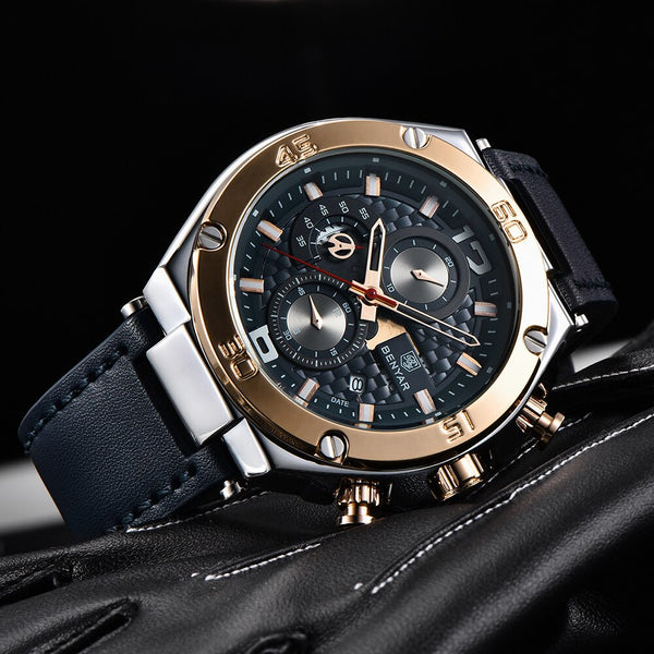 BENYAR Top Brand Large dial design Chronograph Sport Mens WristWatches