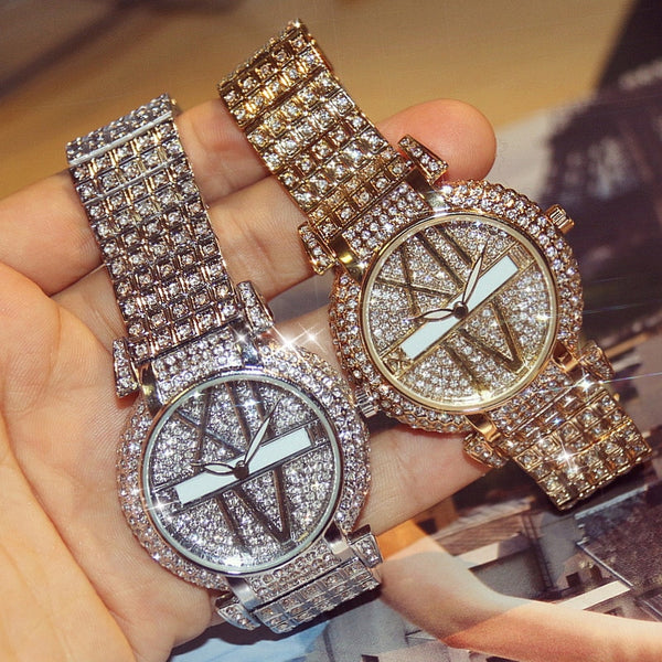 2019 Luxury Diamond Women Watches Fashion Stainless Steel Bracelet Wrist Watch Women Design Quartz Watch