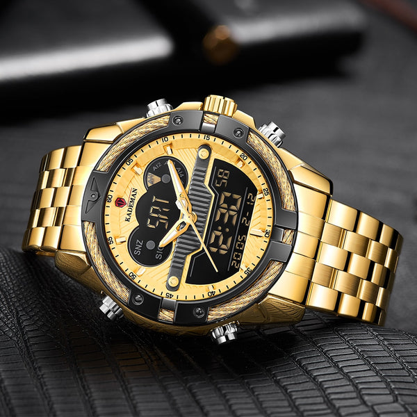 Relogio Masculino Golden Men Watch KADEMAN Top Brand Luxury Military Quartz Mens Watches Waterproof Sports Men's Wrist Watch