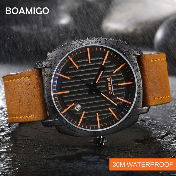 BOAMIGO Top Brand Luxury Quartz Watches Men Leather Strap 30M Waterproof Wristwatches Auto Date Relogio Masculino